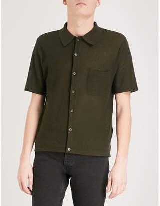 Sandro Textured-knit cotton polo shirt
