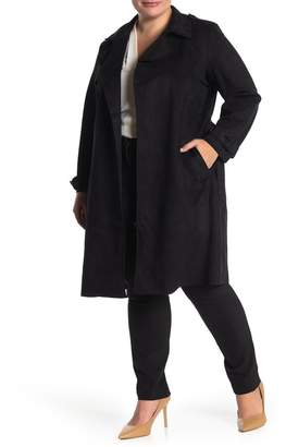 Catherine Malandrino Faux Suede Midi Trench Coat (Plus Size)