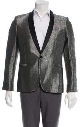 Saint Laurent Metallic Shawl-Collar Tuxedo Jacket champagne Metallic Shawl-Collar Tuxedo Jacket