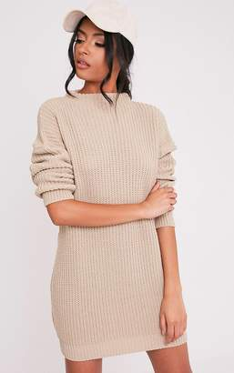 PrettyLittleThing Iffy Stone Oversized Cable Knit Dress