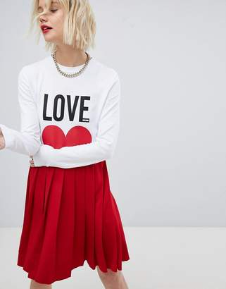 Love Moschino Icon Mini T-Shirt Dress with Pleated Skirt