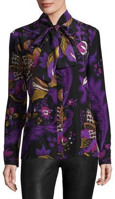 Roberto Cavalli Silk Tie Neck Floral Blouse