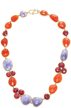 Bahina 18K Gold Tanzanite Ruby and Carnelian Necklace
