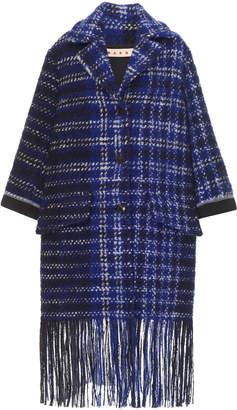 Marni Virgin Wool Plaid Coat With Fringe Hem
