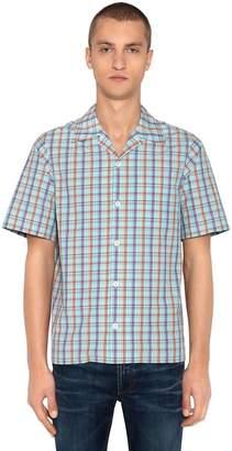 Prada Check Short Sleeve Poplin Bowling Shirt
