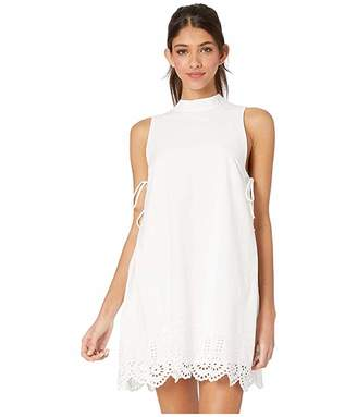 BCBGeneration Cocktail Embroidered Mock Neck Woven Dress