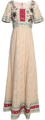Alice + Olivia Alice+olivia Embellished Gauze Gown