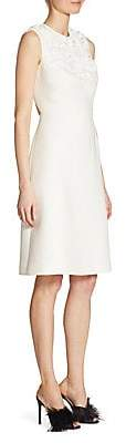 Prada Women's Open Back Embroidered Cady Sheath Dress