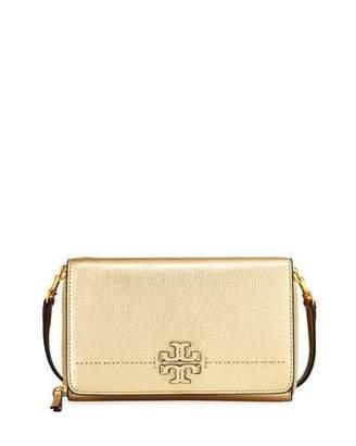 Tory Burch McGraw Metallic Flat Wallet, Gold