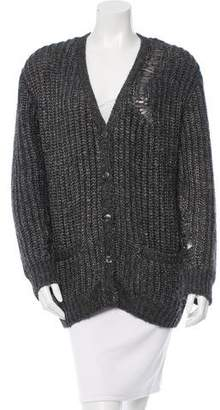 Saint Laurent Open Knit V-Neck Cardigan