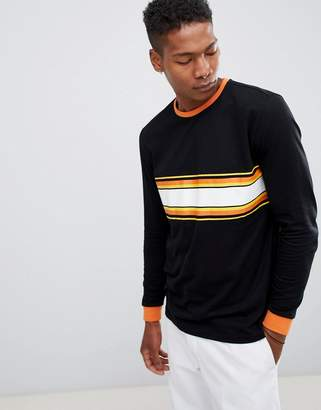 Asos DESIGN relaxed long sleeve t-shirt with contrast chest stripe and ringer