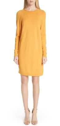 St. John Jersey Knit & Stretch Silk Sweater Dress