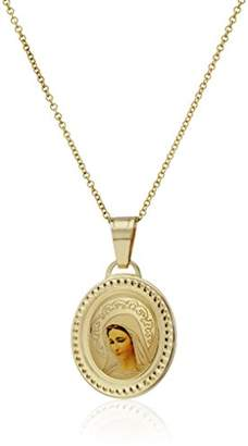 14k Gold Blessed Virgin Mary Oval Picture Medal Necklace