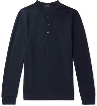 Theory Waffle-Knit Jersey Henley T-Shirt