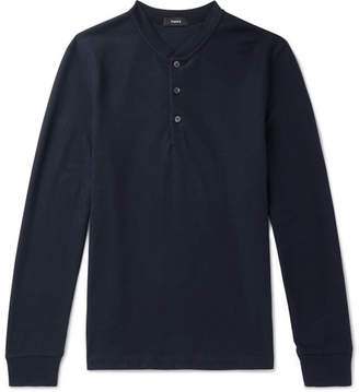 Theory Waffle-Knit Jersey Henley T-Shirt - Men - Navy