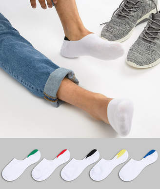Asos Design DESIGN invisible liner socks in white with colour pop back tabs 5 pack