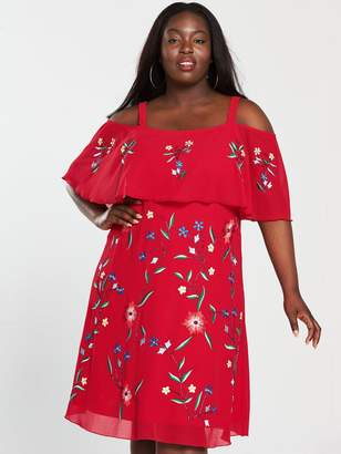 V by Very Curve Cold Shoulder Embroidered Dress - Red Print