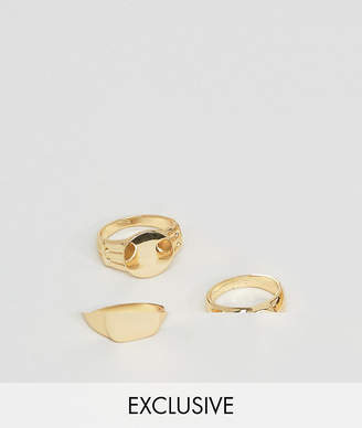 Asos Designb London Signet & Pinkie Rings In 3 Pack In Gold Exclusive To