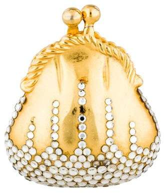 Judith Leiber Embellished Clam Pill Box