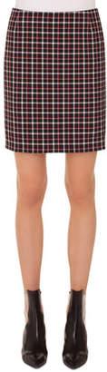 Akris Punto Glen Check Woven Straight Back-Zip Mini Skirt