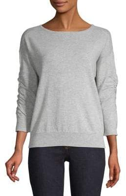 INC International Concepts Petite Ruched-Sleeve Heathered Top