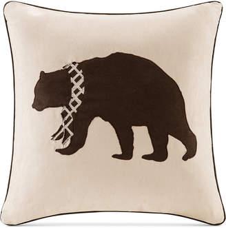 """Madison Park Faux-Suede Bear Applique 20"""" Square Decorative Pillow"""