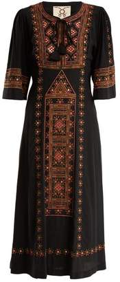Figue Louise Embellished Silk Dress - Womens - Black Multi