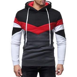 f67a94c8 Rambling-Men's Outwear Rambling 2018 New Mens Novelty Color Block Hoodies  Cozy Sport Outwear