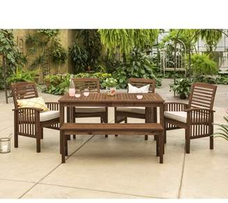 Manor Park Acacia Wood Simple 6 Piece Patio Dining Set - Dark Brown