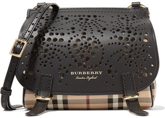 Burberry - Checked Textured And Perforated Leather Shoulder Bag - Black $895 thestylecure.com