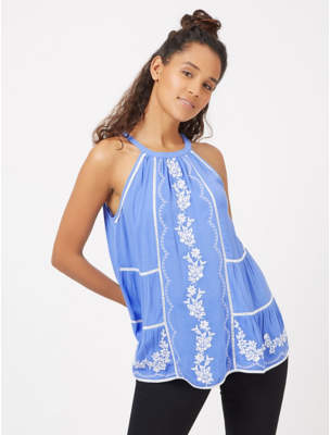 George Blue High Neck Embroidered Camisole Top
