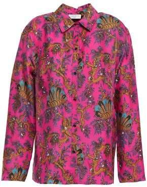 Sandro Printed Silk-twill Shirt