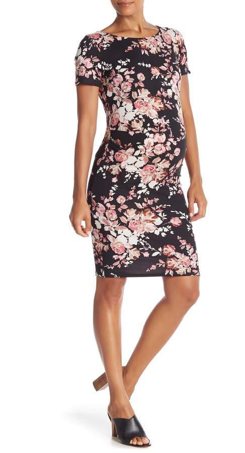 PinkBlush Maternity Floral Short Sleeve Fitted Maternity Dress (Maternity)