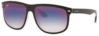 Ray-Ban Men's RB4147 Mirrored Flat-Top Plastic Sunglasses