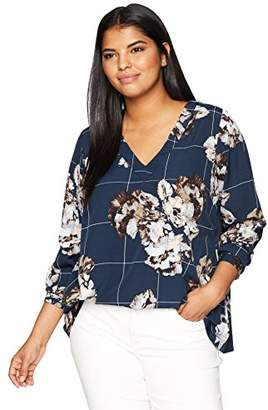 Junarose Women's Plus Size Floral Print Long Sleeve Blouse