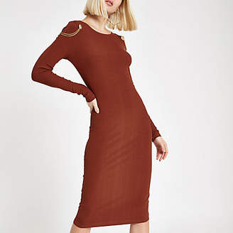 River Island Womens Orange chain drape bodycon midi dress