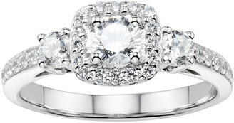Diamonluxe DiamonLuxe Sterling Silver 1 5/8 Carat T.W. Simulated Diamond Cushion Halo Engagement Ring