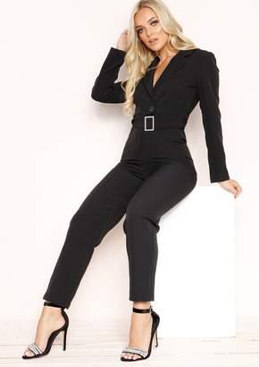 5c9266739467 Missy Empire Missyempire Luz Black Belted Jumpsuit