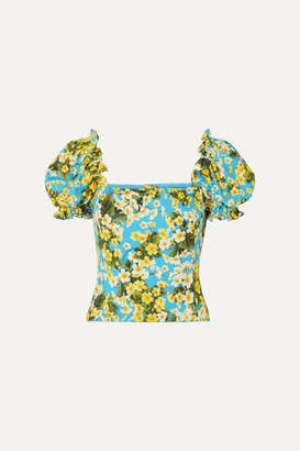 Dolce & Gabbana Ruffled Floral-print Stretch-silk Blouse - Blue