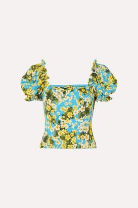 Dolce & Gabbana Ruffled Floral-print Stretch-silk Blouse - Blue