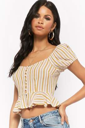 Forever 21 Crinkled Striped Peasant Top