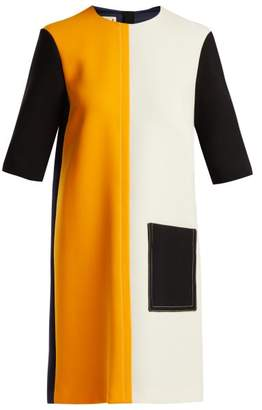 Marni Colour Block Wool Dress - Womens - Orange Multi