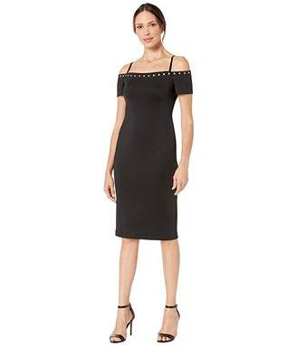 Calvin Klein Off-the-Shoulder Sheath Dress with Hardware Detail