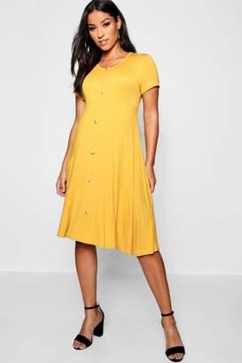 boohoo Maternity Horn Button Short Sleeved Skater Dress