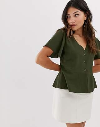 Brave Soul dune button through tea blouse