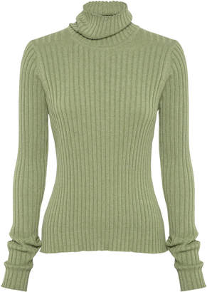 Anna Quan Heather Rib-Knit Cotton Turtleneck Size: 6