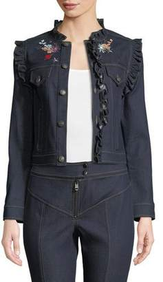 Cinq à Sept Lina Button-Front Embroidered Denim Jacket