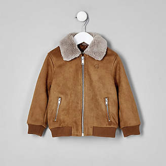 River Island Mini boys brown suedette Fleece bomber jacket