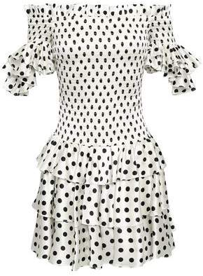 Caroline Constas Off-the-shoulder Smocked Polka-dot Silk-blend Satin Mini Dress