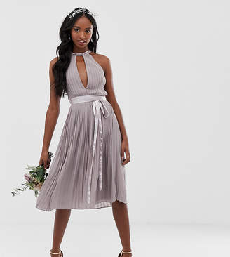 TFNC Tall Tall pleated midi bridesmaid dress with cross back and bow detail in grey